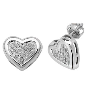 Diamond Heart Earrings 0.13ct, 9k White Gold