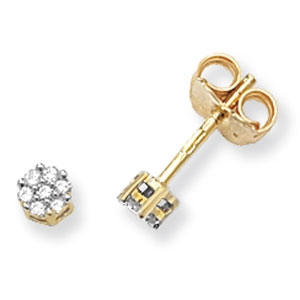 Diamond Cluster Stud Earrings 0.12ct, 9k Gold