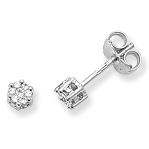 Diamond Cluster Stud Earrings 0.12ct, 9k White Gold