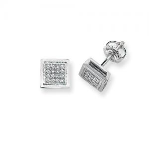 Diamond Square Stud Earrings 0.13ct, 9k White Gold