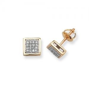 Diamond Square Stud Earrings 0.13ct, 9k Gold