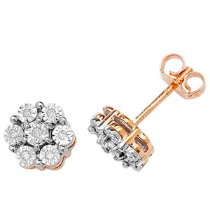 Diamond Illusion Set Stud Earrings 0.08ct, 9k Gold