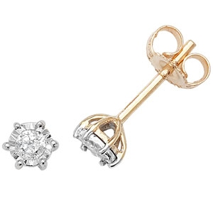 Diamond Illusion Set Stud Earrings 0.15ct, 9k Gold