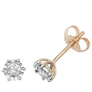 Diamond Illusion Set Stud Earrings 0.20ct, 9k Gold