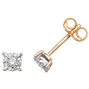 Diamond Studs Illusion Set 0.16ct, 9k Gold