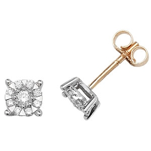 Diamond Studs Illusion Set 0.35ct, 9k Gold