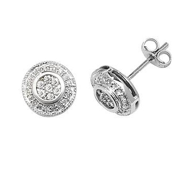 Diamond Halo Cluster Earrings 0.25ct, 9k White Gold
