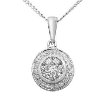 Diamond Halo Cluster Pendant 0.25ct, 9k White Gold