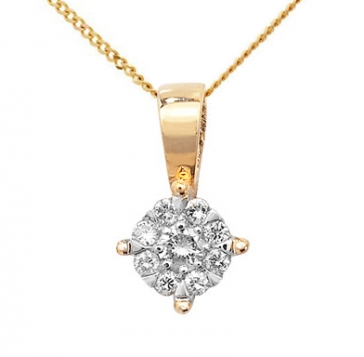 Diamond Brilliant Cluster Pendant 0.08ct, 9k Gold
