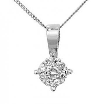 Diamond Brilliant Cluster Pendant 0.08ct, 9k White Gold