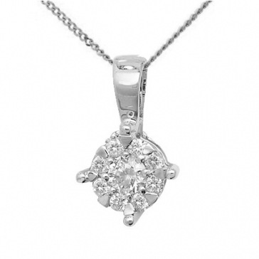 Diamond Brilliant Cluster Pendant 0.13ct, 9k White Gold