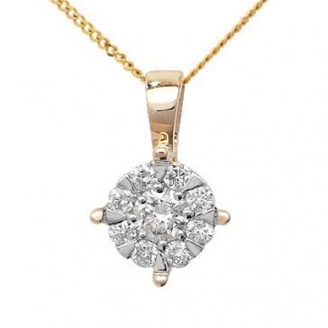 Diamond Brilliant Cluster Pendant 0.25ct, 9k Gold