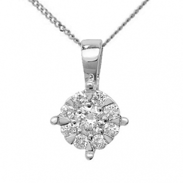 Diamond Brilliant Cluster Pendant 0.25ct, 9k White Gold