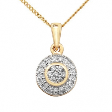 Diamond Halo Cluster Pendant 0.10ct, 9k Gold