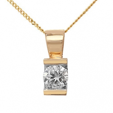 Diamond Tension Set Pendant 0.23ct, 9k Gold