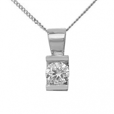 Diamond Channel Set Pendant 0.15ct, 9k White Gold