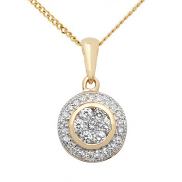 Diamond Halo Cluster Pendant 0.25ct, 9k Gold