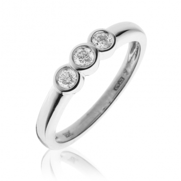 Diamond Trilogy Ring Bezel/Rub-Over Set 0.25ct, 18k White Gold