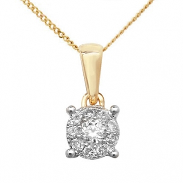 Diamond Brilliant Cluster Pendant 0.10ct, 9k Gold