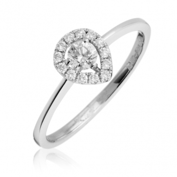 Diamond Pear Shape Engagement Ring 0.30ct, 18k White Gold