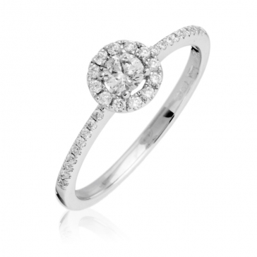 Diamond Halo Engagement Ring 0.35ct, 18k White Gold