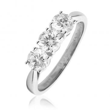 Classic Diamond Trilogy Ring 1.20ct, 18k White Gold