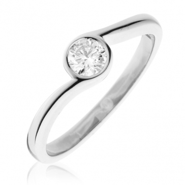 Diamond Solitaire Engagement Ring 0.30ct, 18k White Gold