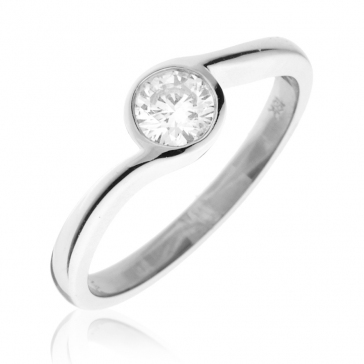 Diamond Solitaire Engagement Ring 0.40ct, 18k White Gold