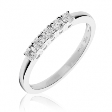 Diamond 5 Stone Ring 0.33ct, 18k White Gold