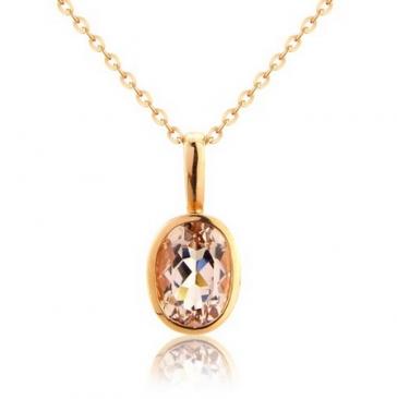 Morganite Oval Drop Pendant Necklace, 9k Rose Gold