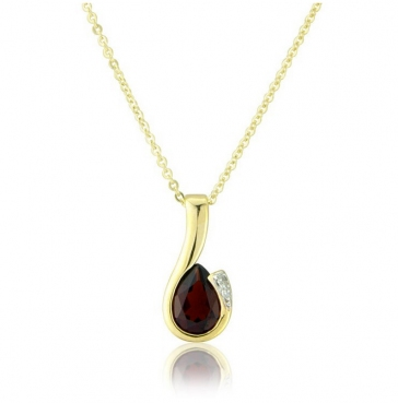 Diamond and Garnet Drop Pendant Necklace, 9k Gold