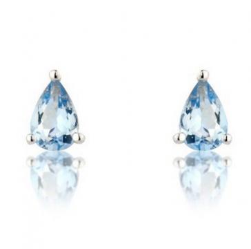 Aquamarine Pear Stud Earrings, 9k White Gold