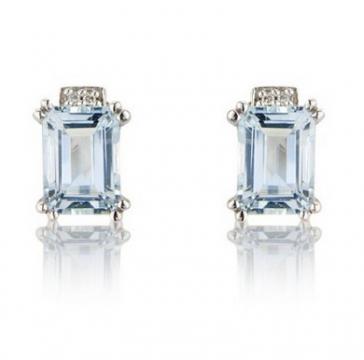 Diamond & Aquamarine Stud Earrings, 9k White Gold