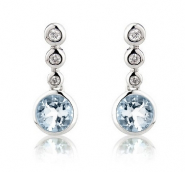 Aquamarine & Diamond Drop Earrings, 9k White Gold
