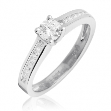 Diamond Engagement Ring Channel Set 0.50ct. 18k White Gold