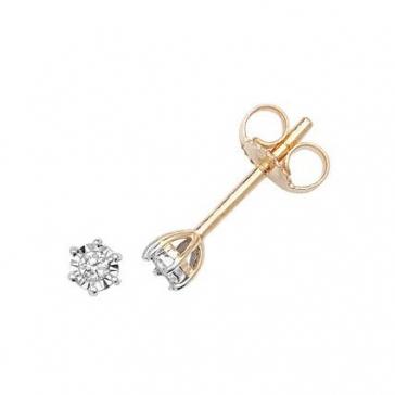 Diamond Illusion Set Stud Earrings 0.05ct, 9k Gold
