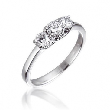 Diamond Three Stone Trilogy Ring 0.50ct, 18k White Gold