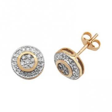 Diamond Halo Cluster Earrings 0.25ct, 9k Gold