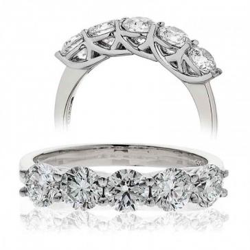 Five Stone Diamond Ring 1.50ct, 18k White Gold