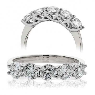 Five Stone Diamond Ring 2.00ct, Platinum