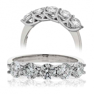 Five Stone Diamond Ring 0.75ct in Platinum