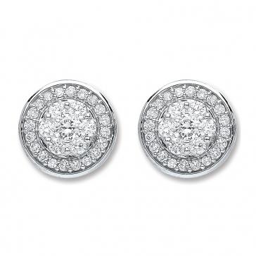 Diamond Halo Cluster Earrings 0.50ct, 18k White Gold