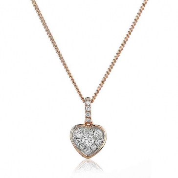 Diamond Cluster Heart Pendant 0.25ct, 18k Rose Gold