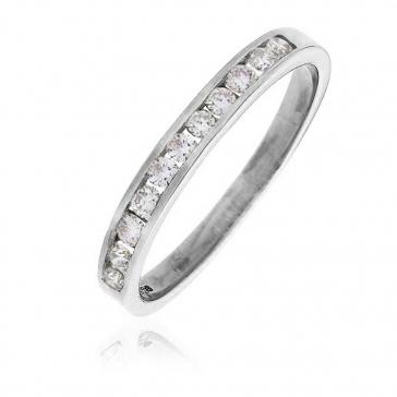 Diamond Channel Half Eternity Ring 0.25ct, 18k White Gold