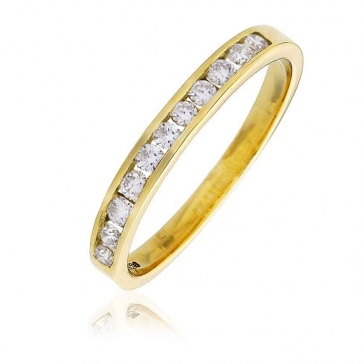Diamond Channel Half Eternity Ring 0.25ct, 9k Gold