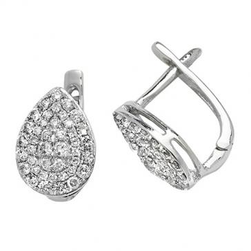 Diamond Pavé Pear Shape Earrings 0.50ct, White Gold