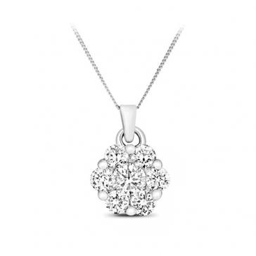 Diamond Brilliant Cluster Pendant 0.25ct, 9k White Gold