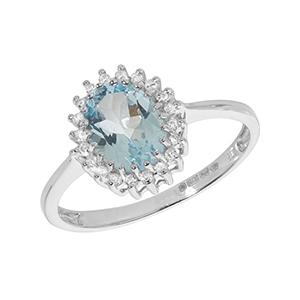 Diamond & Aquamarine Ring 1.10ct, 9k White Gold
