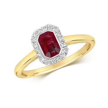 Diamond & Octagon Cut Ruby Ring 0.81ct, 9k Gold
