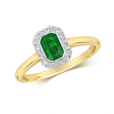 Diamond & Octagon Cut Emerald Ring 0.64ct, 9k Gold
